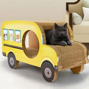 pet 스크래처 스쿨버스 고양이 장난감 놀이터