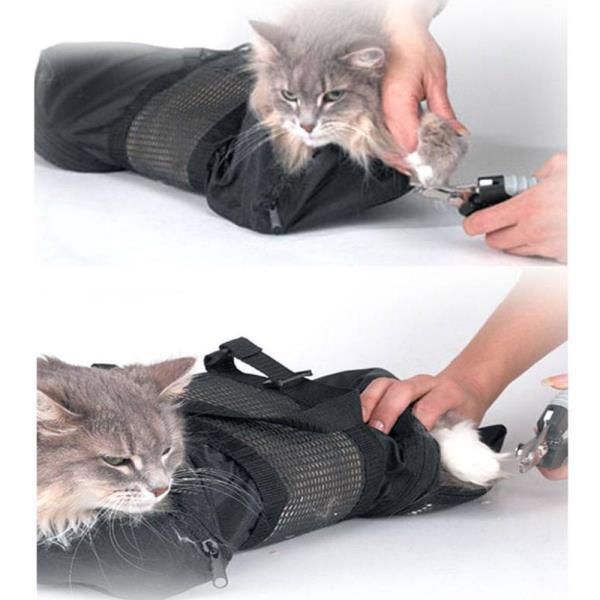 메쉬 고양이 손질 목욕 가방 애완 세척 손톱 트리밍