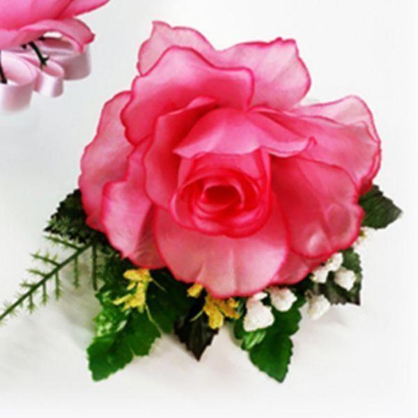 플라워 코사지 핑크 장미