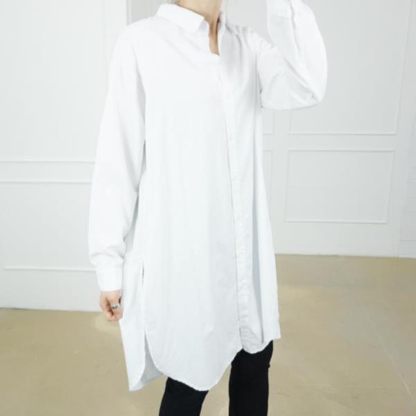 블라우스 롱 솔리드 캐쥬얼 셔츠 베이직 가을 여성 패션 기본 루즈핏 오버핏 롱 트임 셔츠 남방