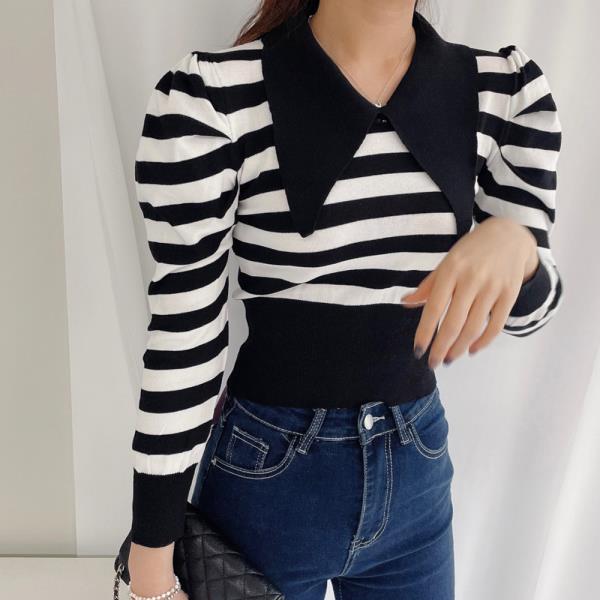 티셔츠 여성 내담쇼핑몰 롱슬리브 코튼 롱 루즈핏 빅 카라 스트라이프 크롭 긴팔 티셔츠