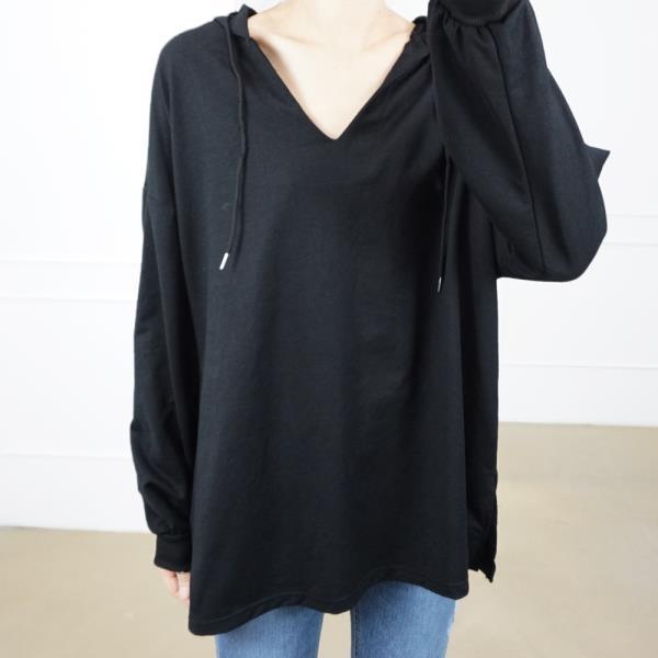 여성 내담쇼핑몰 라운드넥 기본 모던 구김없는 가을 간절기 루즈핏 브이 후드 캐쥬얼 긴팔 티셔츠