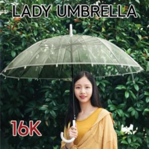 레이디 투명 장우산 자동 방풍 16K
