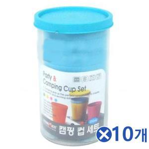 휴대용 플라스틱 캠핑컵 6P-색상랜덤x10개 모던식기