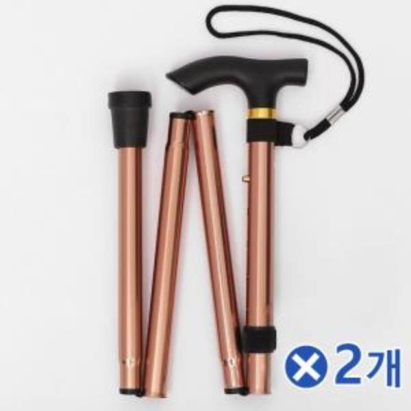 T자형 가벼운 길이조절 지팡이 브론즈x2개 노인지팡이