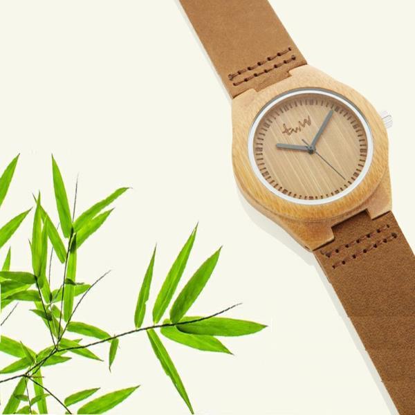 Raum 대나무손목시계 가죽시계