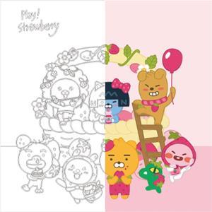 DIY 그리기 페인팅 리틀프렌즈 딸기-핑크 40X40