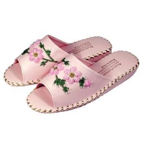 봉합 구슬 실내화 핑크