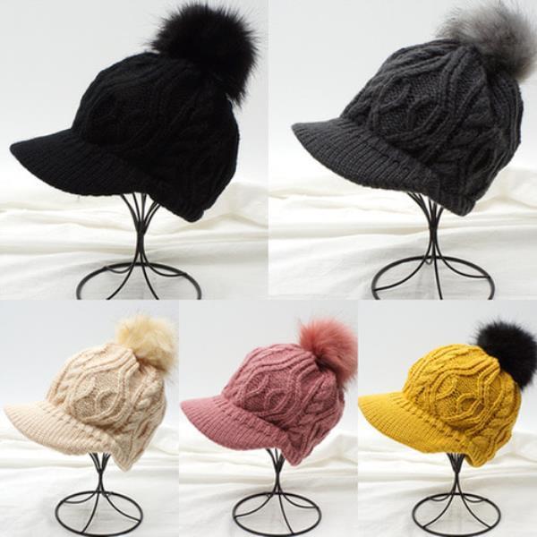 니트꽈배기 방울캡모자[S1122-뜨개]모자 니트모자