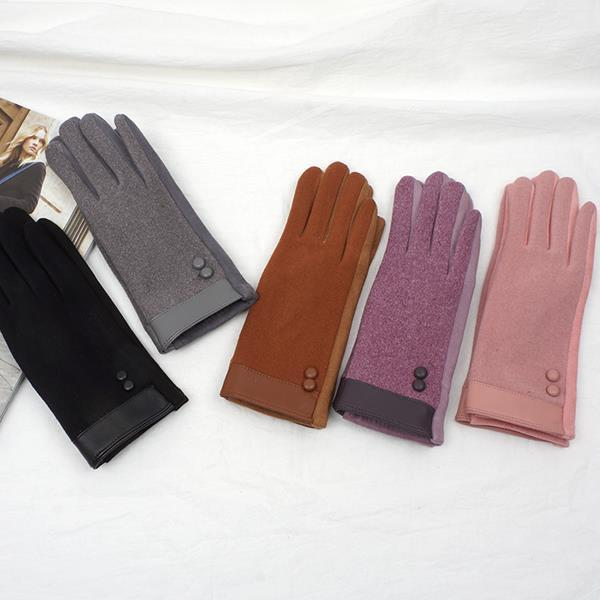D5123-단추 여성 스웨이드 장갑