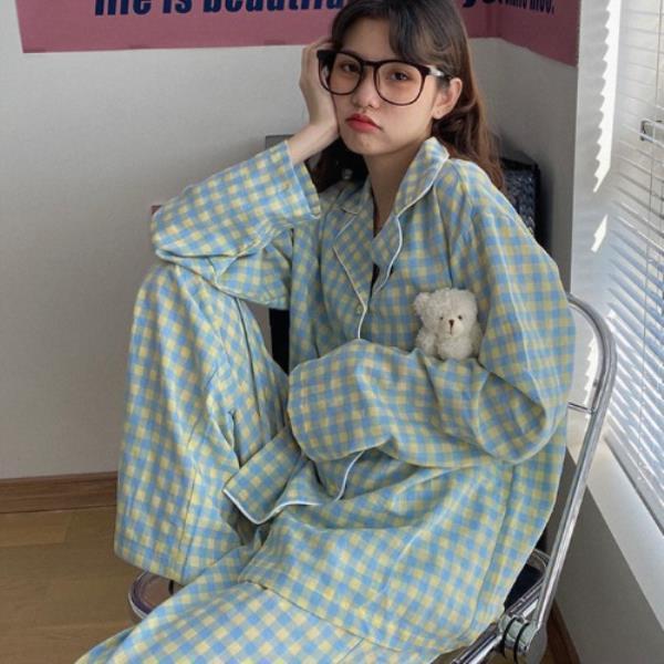 MA8002 컬러 체크 잠옷세트 파자마 여성 봄 가을