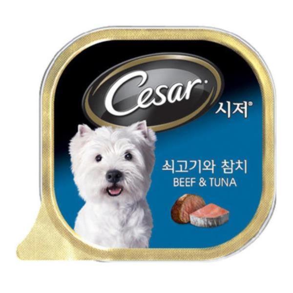 가정견 주식캔 시저 쇠고기와 참치 강아지닭고기간식