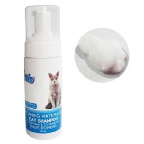 고양이 베이비파우더향 거품 버블 샴푸 자극이 적은 150미리 캣 목욕용품 워터리스 샴푸