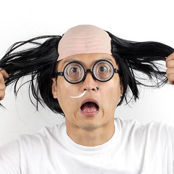 대머리가발(블랙)+바보안경