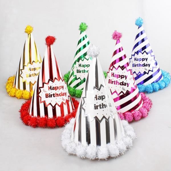 고급롤리팝꼬깔모자 10개 생일모자 파티모자