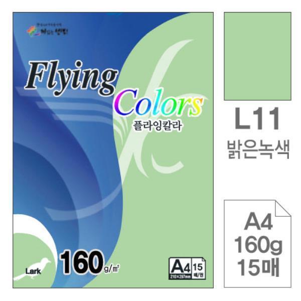 플라잉칼라 L11밝은녹색 A4 160g 복사용지 15매입10개