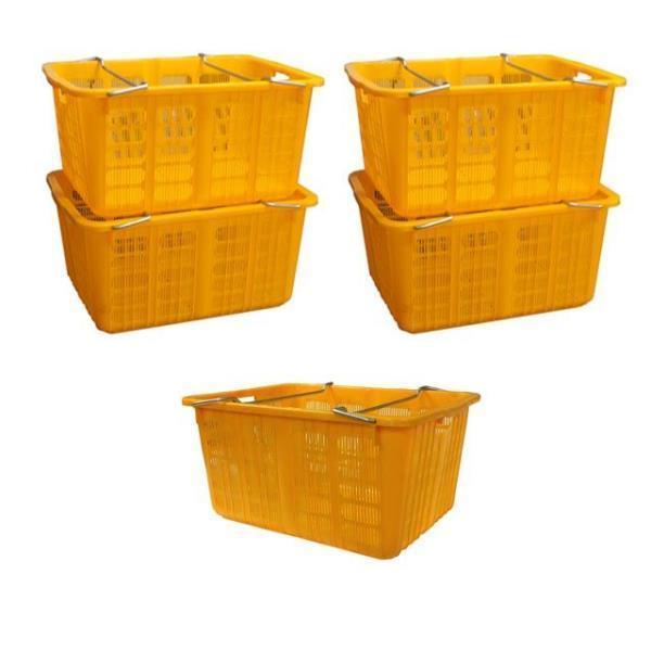 플라스틱 노란 바구니 농산물 과일 운반 상자 5개