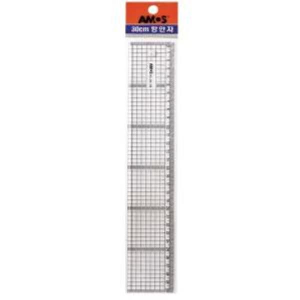 (10개) 아모스 광폭방안자 AM-708 길이 30cm 두께 4mm