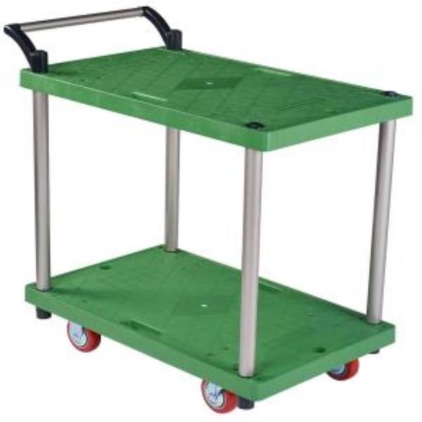 대차 플라스틱 녹색판 2단 소 적색바퀴