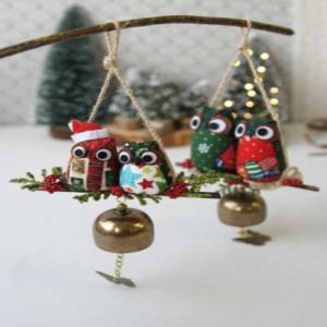 크리스마스 부엉이 도어벨 현관종 문딸랑이 풍경