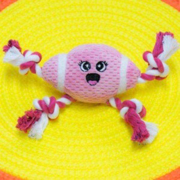 (베게브랜드)네발실타래 럭비공 장난감 - 핑크