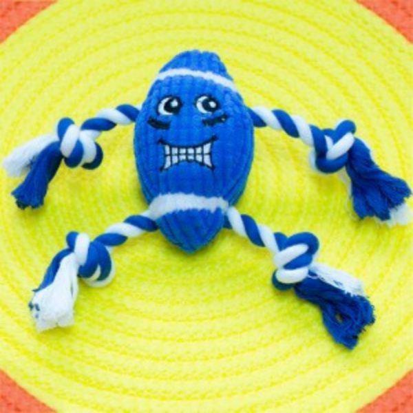 (베게브랜드)네발실타래 럭비공 장난감 - 블루