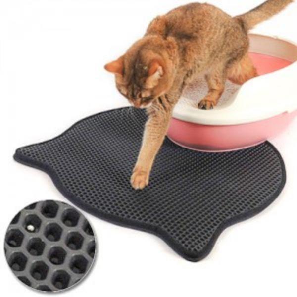 고양이 얼굴모양 화장실주변 사막화방지 모래 배변 EVA 삼중 바닥 매트 발 벌집매트 방석
