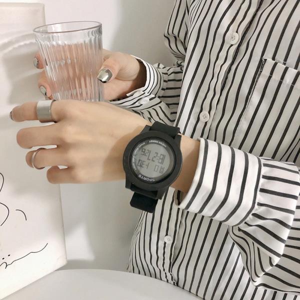 디지털 Aiqinuo 리버스Black 스포츠손목시계 와치_INS