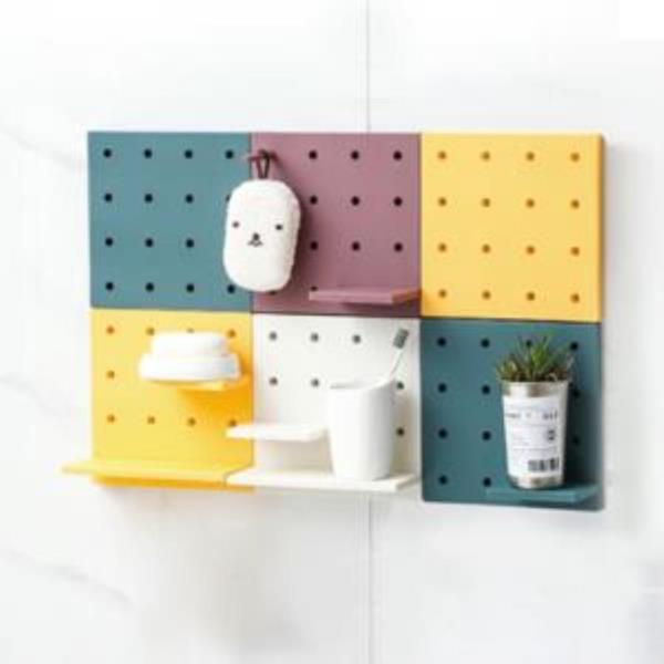 생활건강 욕실장 인테리어 타공선반 플라스틱 거실 주방 벽선반
