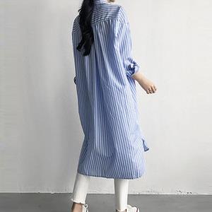카라넥 몸매커버 여자 롱스트라이프 셔츠 LD-568