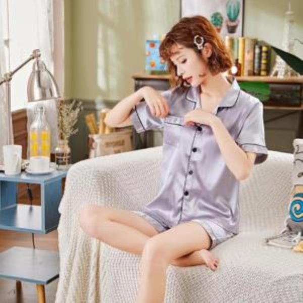 여름 실크 솔리드 여자 잠옷 LD-576
