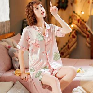 쿨링 예쁜 홈웨어 홍학 이파리 잠옷 LD-577