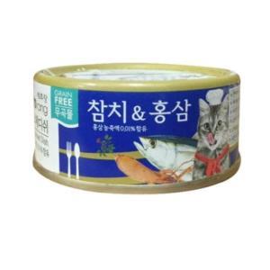 캐츠랑 습식 캔 사료 참치 홍삼 90g 전연령 겔화제 무첨가