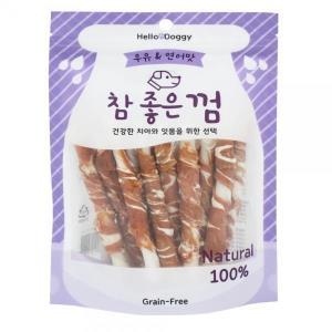 강아지 우유 소가죽 연어치킨스틱 껌 15p 그레인프리