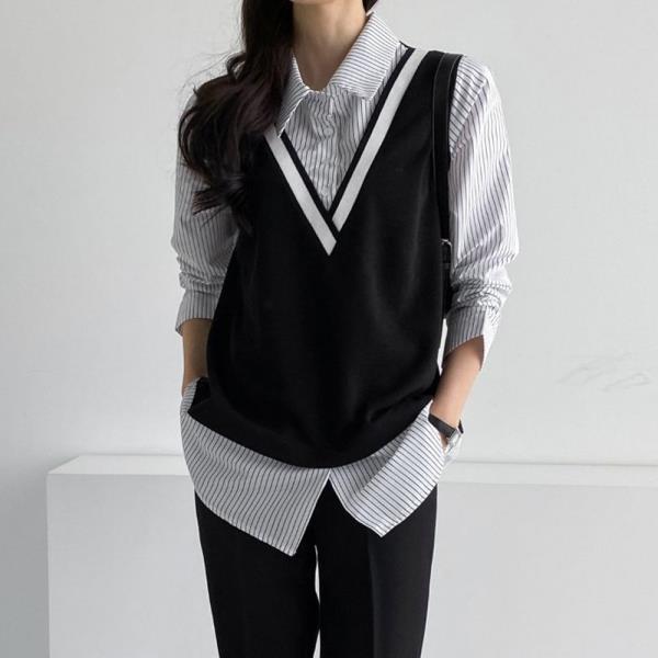 아이우먼 줄지배색조끼형셔츠 BSC576M101 빅사이즈