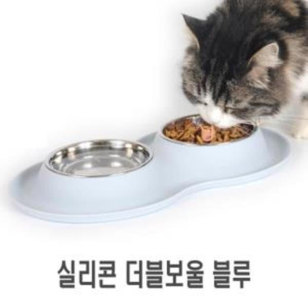 수퍼펫 실리콘 클린 더블보울 파우더블루 강아지식기