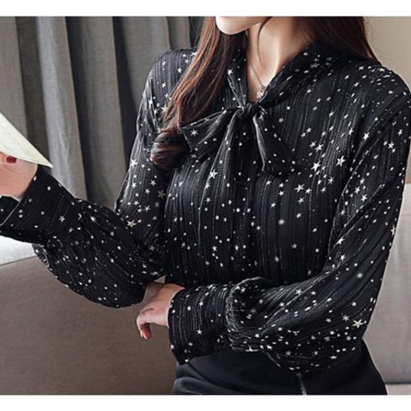 여자 긴팔 블라우스 리본타이 별 패턴 셔츠 하객룩