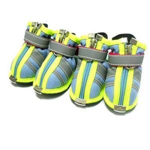 소형견강아지 산책용 외출운동화 애견 신발 야광과 블루색 0호 한세트 부츠 강아지신발