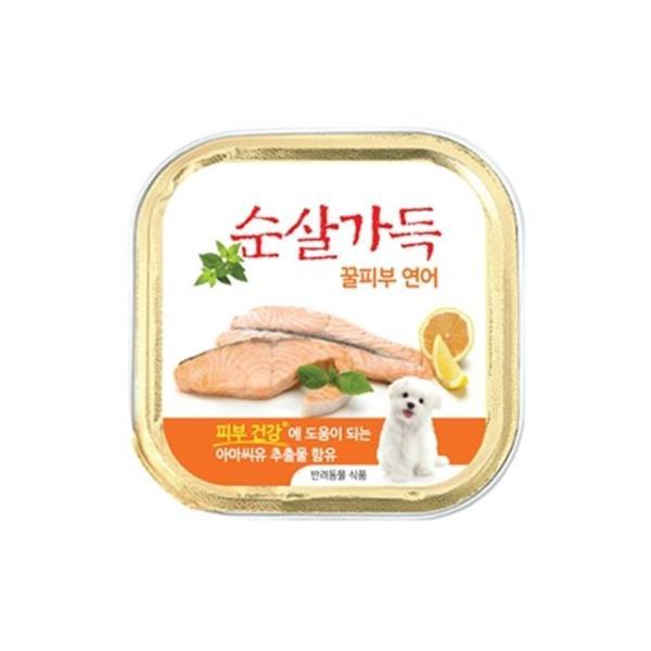 반려동물 피부건강 오메가 아마씨 연어 통조림 캔 100그램 24개 간식