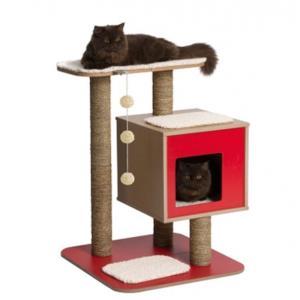 고양이 캣타워 레드 반려묘 아지트 기둥 스크래쳐