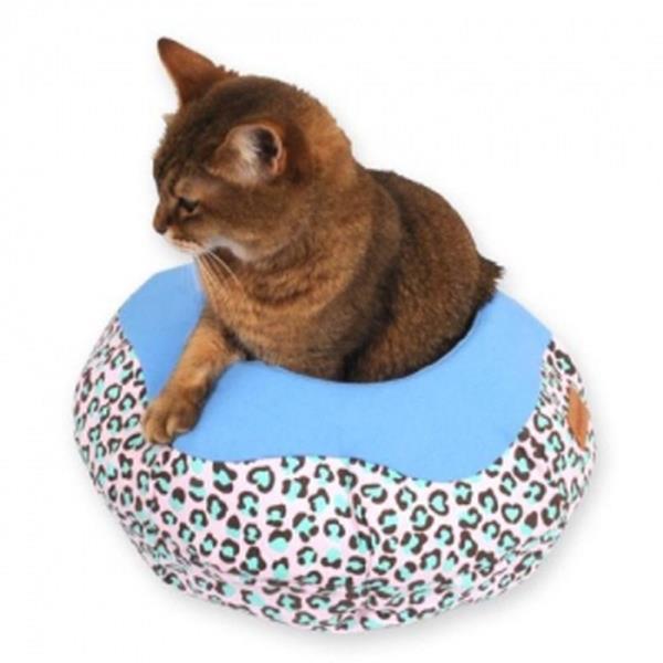 고양이 아지트 데님방석 항아리쿠션 레오파드 블루
