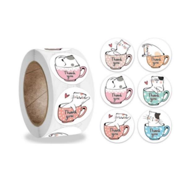 6믹스 컵고양이 땡큐스티커[321] 대용량500pcS 스티커