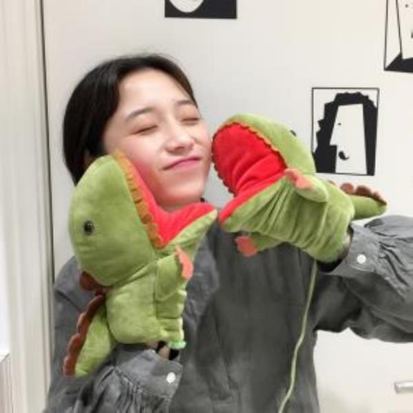 겨울 따뜻한 공룡 디자인 기모 벙어리 장갑