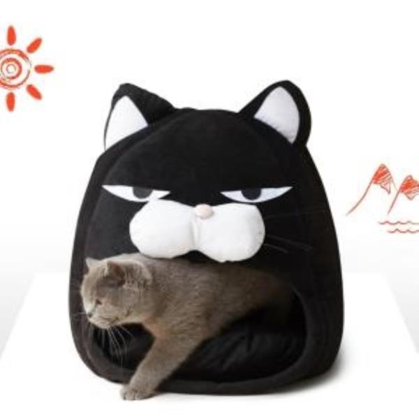 고양이 대형 구름솜 충전재 분리형 지퍼 동굴형 하우스 집 숨숨집 쿠션 방석