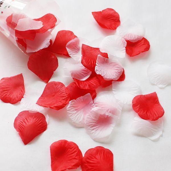 조화꽃잎 레드 화이트 100장 - 플라워샤워 실크꽃잎