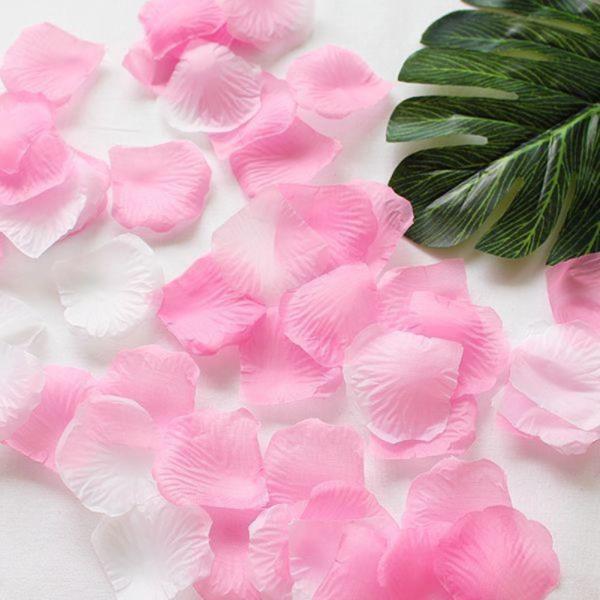 조화꽃잎 핑크 화이트 100장 - 플라워샤워 실크꽃잎