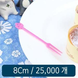 일회용 미니포크 핑크 8cm 벌크 25000개 1박스