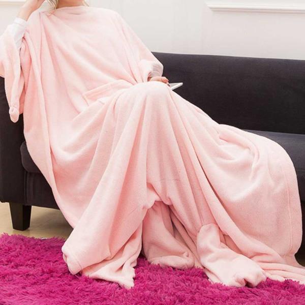 입는 극세사 담요 겨울 블랑켓 수면잠옷 베이비핑크