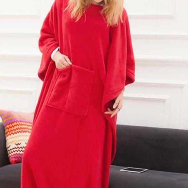 입는 극세사 담요 겨울 블랑켓 수면잠옷 레드