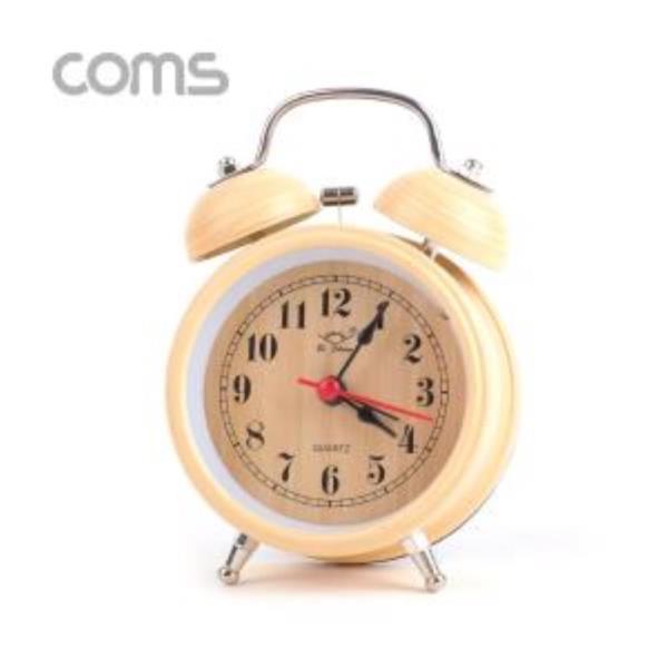 탁상용 아날로그 시계 Wood 알람시계 원형 무소음